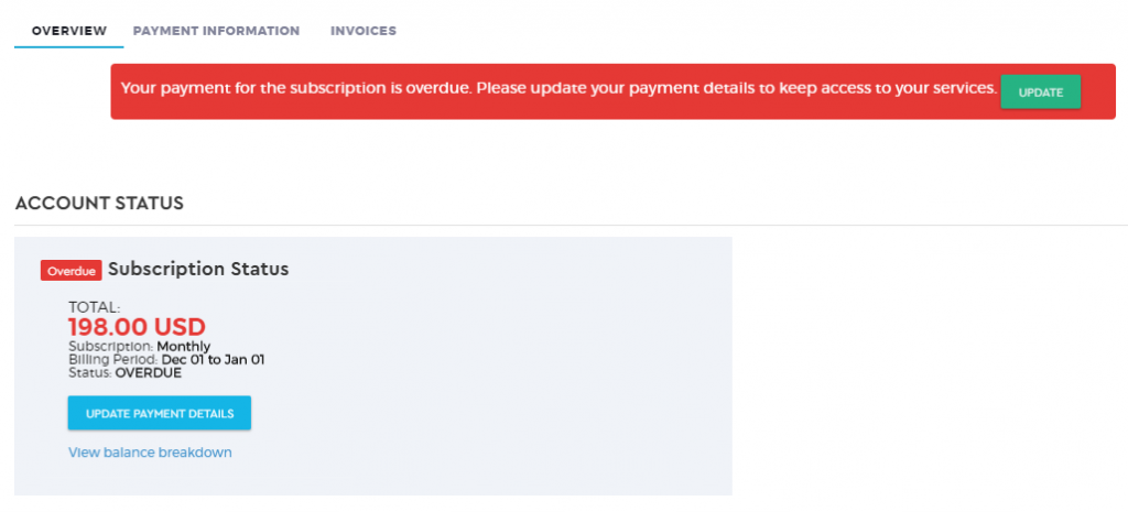 Payment overdue