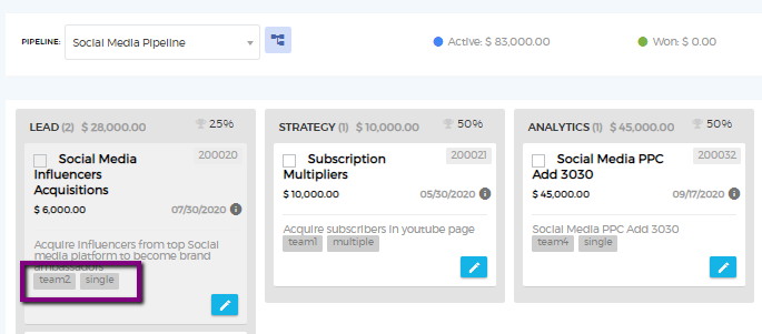 Saphyte - Tagging deals in the CRM